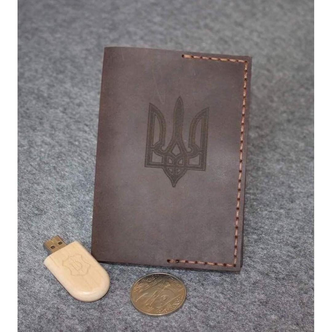Кожаная обложка для паспорта коричневая