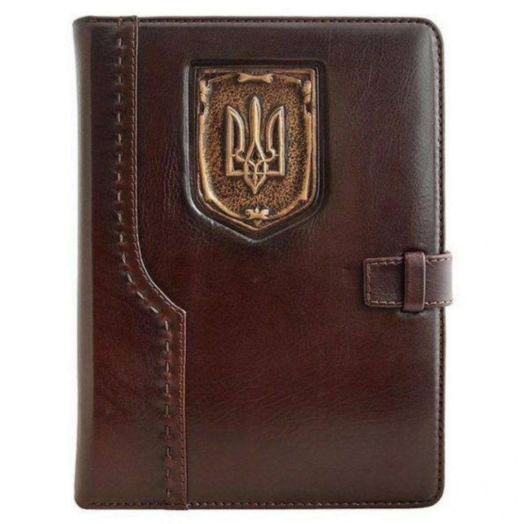Ежедневник кожаный Герб Украины коричневый А5
