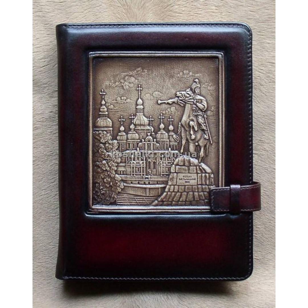 Кожаный блокнот ручной работы Памятник Богдану Хмельницкому А5
